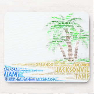 Tropical Island illustrated with cities of Florida Mouse Pad