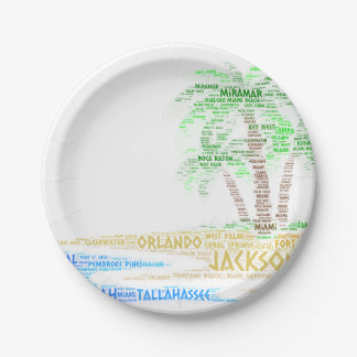 Tropical Island illustrated with cities of Florida Paper Plate