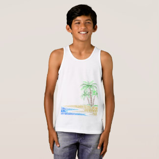Tropical Island illustrated with cities of Florida Singlet
