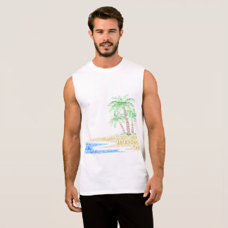 Tropical Island illustrated with cities of Florida Sleeveless Shirt