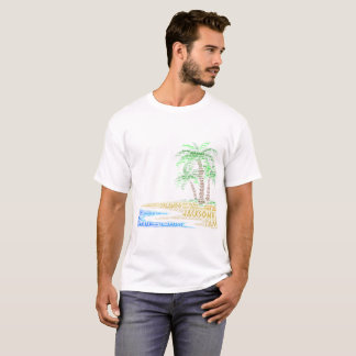 Tropical Island illustrated with cities of Florida T-Shirt