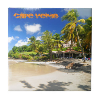 Tropical island in Cape Verde Small Square Tile