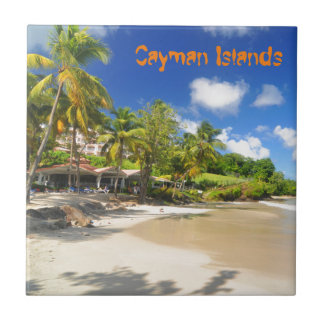 Tropical island in Cayman Islands Small Square Tile