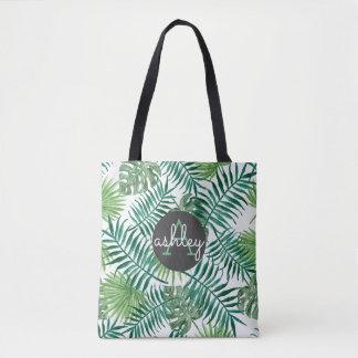 Tropical Island Leaf Pattern Monogram Tote Bag