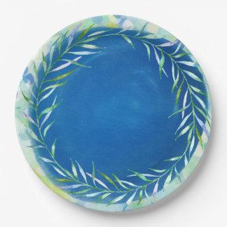 Tropical Island Ocean Blue Watercolor Paper Plate