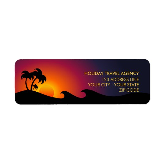 Tropical Island Ocean Palm Trees labels