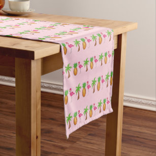 Tropical Island Palm Tree Pineapple Pink Flamingo Short Table Runner