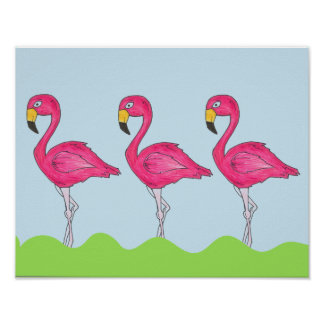 Tropical Island Pink Flamingo Bird Poster