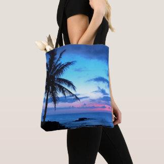 Tropical Island Pretty Pink Blue Sunset Landscape Tote Bag