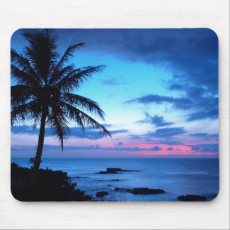 Tropical Island Pretty Pink Blue Sunset Photo Mouse Pad