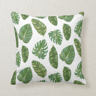 Tropical Island Resort Banana Leaf Modern Stylish Throw Pillow