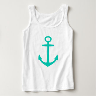 Tropical Island Sea Anchor on White Singlet