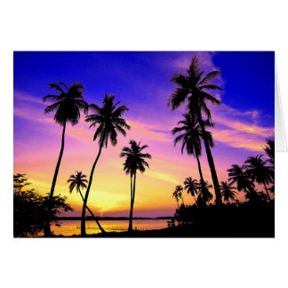 Tropical Island Sunset Over Sri Lanka Card