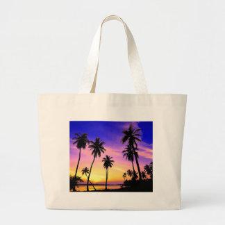 Tropical Island Sunset Over Sri Lanka Large Tote Bag