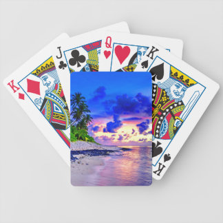 Tropical Island Sunset Paradise Bicycle Playing Cards