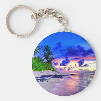 Tropical Island Sunset Paradise Key Ring