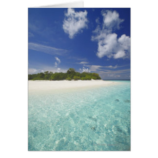 Tropical island surrounded by lagoon, Maldives, Card