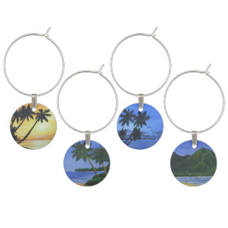 Tropical Island Wine Charm Set