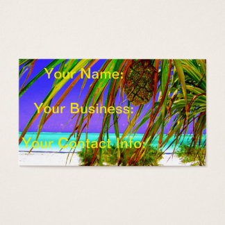 Tropical Island With Pineapple Tree Business Card