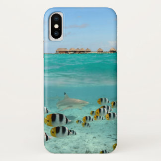 Tropical island with shark iphone X case