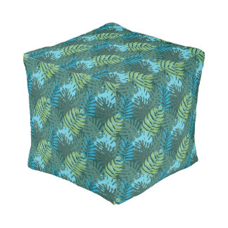 Tropical Jungle Leaf Pattern in Greens and Blues Pouf