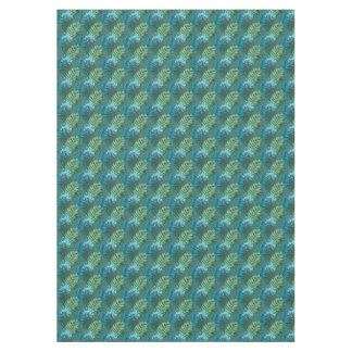 Tropical Jungle Leaf Pattern in Greens and Blues Tablecloth