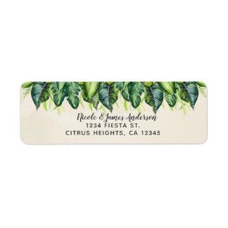 Tropical Jungle Leaves Botanical Summer Wedding Return Address Label