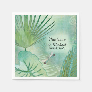 Tropical Jungle Leaves Modern Wedding Reception Paper Napkins