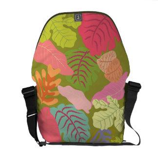 Tropical Jungle Leaves Vector Art Messenger Bag
