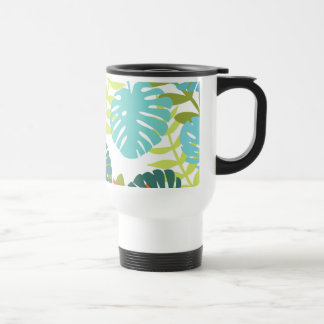 Tropical jungle with green palm leaves travel mug