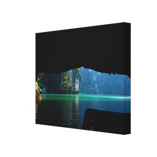 Tropical lake cave canvas prints