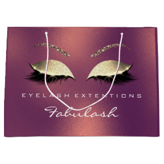 Tropical Lashes Copper Makeup Lashes Branding Large Gift Bag