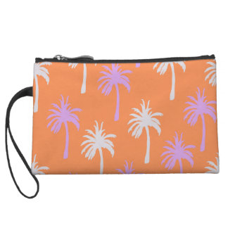 Tropical Lavender and Gray Palm Trees on Orange Wristlet