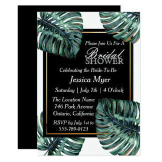 Tropical Leaf Bridal Shower Invitation