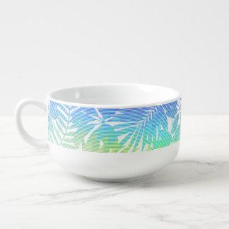 Tropical leaf chevron soup mug