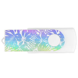 Tropical leaf chevron USB flash drive