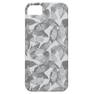 Tropical Leaf Grey Modern Phone Case