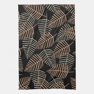 Tropical Leaf Pattern in Brown, Gray and Black. Kitchen Towels