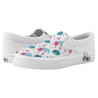 Tropical Leaf Triangle Pattern Slip On Shoes