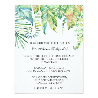 Tropical Leaf Wedding Invitation