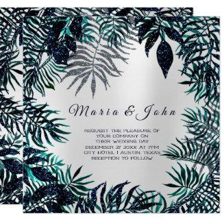 Tropical Leafs Glitter Garden Blue Navy Teal Gray Card