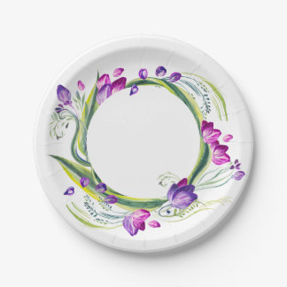 Tropical leaves and flowers. Add your text! Paper Plate