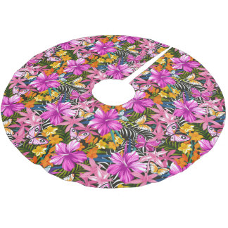 Tropical leaves and flowers brushed polyester tree skirt