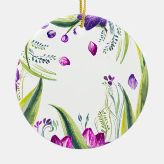 Tropical leaves and flowers for your home ceramic ornament