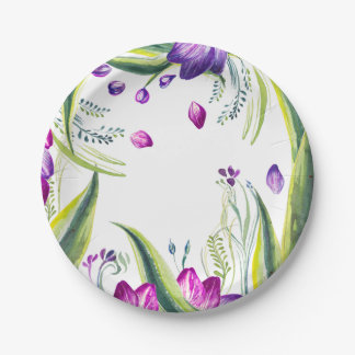 Tropical leaves and flowers for your home paper plate