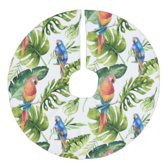 Tropical Leaves and  Parrots  Christmas Tree Skirt