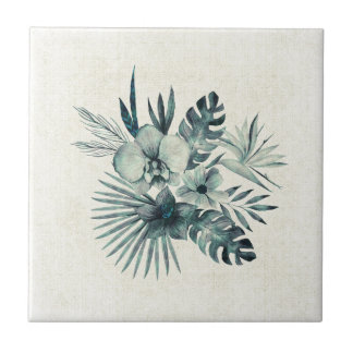 Tropical leaves bouquet small square tile