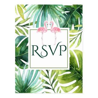 Tropical Leaves & Flamingos Summer Wedding RSVP Postcard