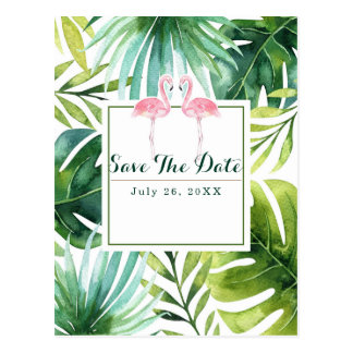Tropical Leaves & Flamingos Wedding Save the Date Postcard