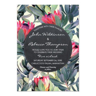 Tropical leaves floral modern wedding invitation
